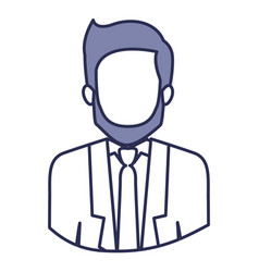 Blue contour of half body of faceless man with vector