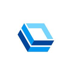 box 3d abstract line technology company logo vector image