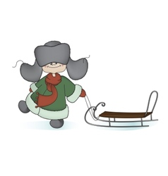 Boy with a sledge vector image vector image