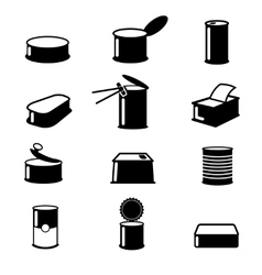 Cans foodcanned goods icons vector image vector image
