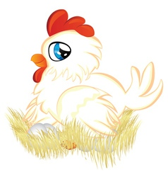 Cartoon Hen in Nest vector image