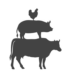 Chicken pork cow farm animals vector