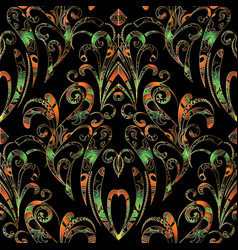 damask hand drawn seamless pattern floral vector image vector image