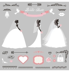 Different bride dresswedding bridal shower decor vector