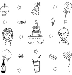 Doodle art wedding party vector