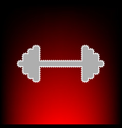 dumbbell weights sign postage stamp or old photo vector image vector image