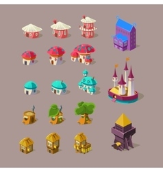 Fairy House and Castle Set vector image