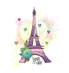 Floral love card design with eiffel tower vector