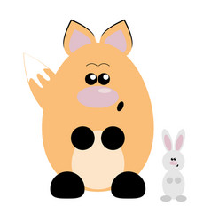 fox and rabbit surprised vector image vector image