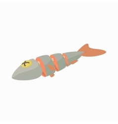 Fresh raw fish icon cartoon style vector