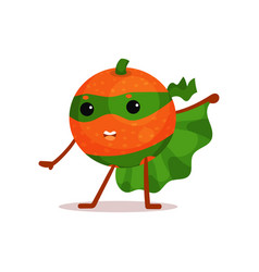 funny cartoon character of superhero orange with vector image