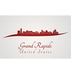 Grand Rapids skyline in red vector image