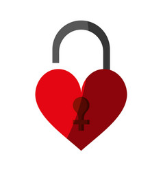 heart shape safety lock icon image vector image