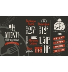 menu with bar price list vector image
