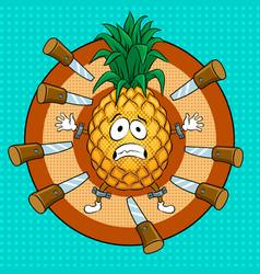 Pineapple target pop art vector