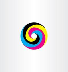 Printing cmyk logo circle icon design vector