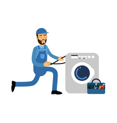 proffesional plumber character installing washing vector image vector image