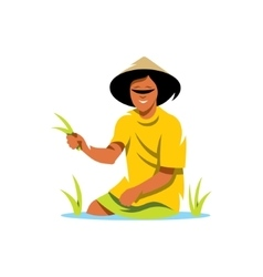 Rice field man cartoon vector