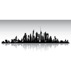 Skyline ruined city vector