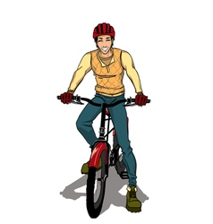 Sporty cyclist on the bike vector