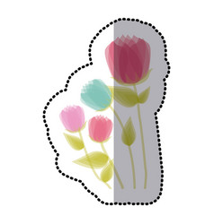 Sticker faded set collection tulip floral icon vector