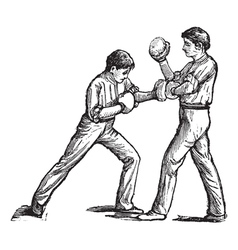 Two boxers fighting vintage engraving vector
