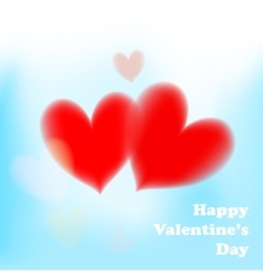 Valentines day card with soft red hearts on blue vector