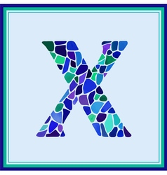 X - letter - green watercolor mosaic vector