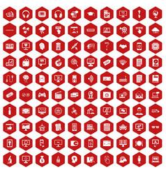 100 website icons hexagon red vector