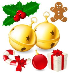 Set of Christmas decoration bells made with vector image