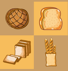 Set of delicious types of breads vector