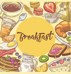 Healthy breakfast hand drawn design with croissant vector