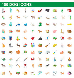 100 dog icons set cartoon style vector