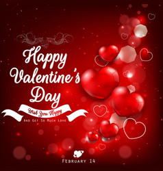 Valentines day greeting with red heart balloons vector