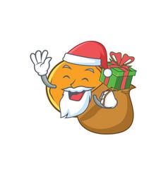 Santa with gift orange fruit cartoon character vector