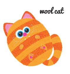 knitted cat character on white background vector image