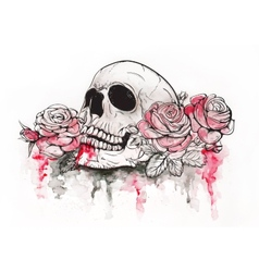 Skull with roses vector