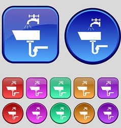Washbasin icon sign a set of twelve vintage vector