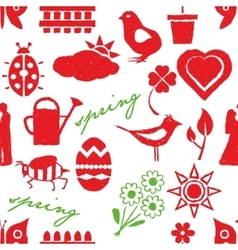 Seamless doodle spring pattern vector