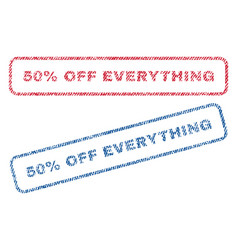 50 percent off everything textile stamps vector