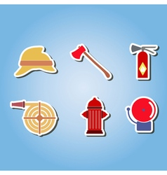 Color set with firefighter flat icons vector