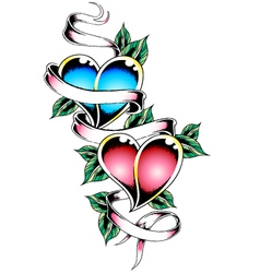 double heart tattoo design vector image