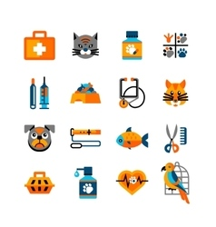 Veterinary icons set with pets vector
