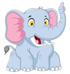 Cute elephant cartoon posing vector