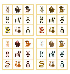 Assembly flat icons nature panda monkey rabbit vector