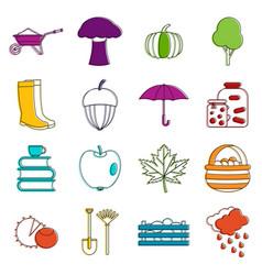 Autumn icons doodle set vector