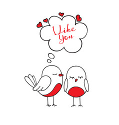 Birds in love the cute card for valentines day vector