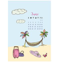 calendar month june 2018 vacation vector image