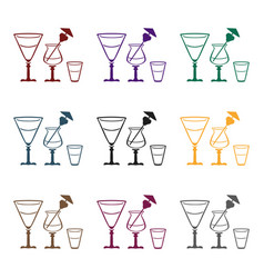 cocktails icon in black style isolated on white vector image vector image