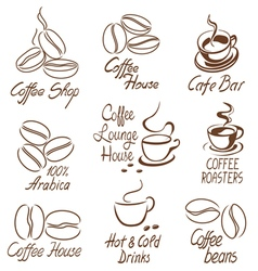 coffee shop signs vector image vector image